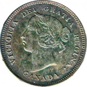 Canada 1884 5 Cents – Victoria Coin Obverse