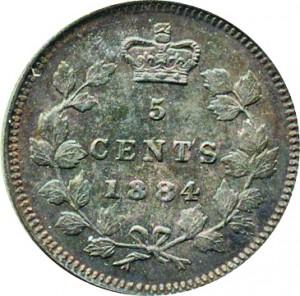 Canada 1884 5 Cents – Victoria Coin Reverse