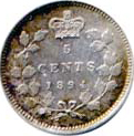Canada 1894 5 Cents – Victoria Coin Reverse