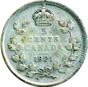 Canada 1921 5 Cents – George V Coin Reverse