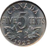 Canada 1922 5 Cents – George V Coin Reverse
