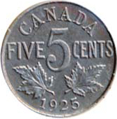 Canada 1925 5 Cents – George V Coin Reverse