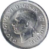 Canada 1940 5 Cents – George VI Coin Obverse