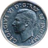 Canada 1947 5 Cents – George VI Coin Obverse