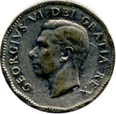 Canada 1951 5 Cents – George VI Coin Obverse