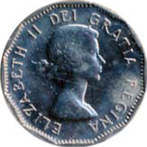 Canada 1958 5 Cents – Elizabeth II Coin Obverse