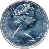 Canada 1967 5 Cents – Elizabeth II Coin Obverse