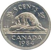 Canada 1984 5 Cents – Elizabeth II Coin Reverse
