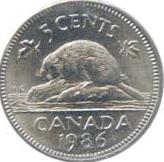 Canada 1986 5 Cents – Elizabeth II Coin Reverse