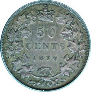 Canada 1870 50 Cents – Victoria Coin Reverse