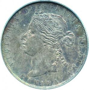 Canada 1871 50 Cents – Victoria Coin Obverse