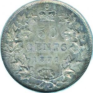 Canada 1871 50 Cents – Victoria Coin Reverse