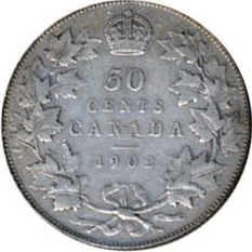 Canada 1902 50 Cents – Edward VII Coin Reverse