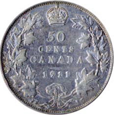 Canada 1911 50 Cents – George V Coin Reverse