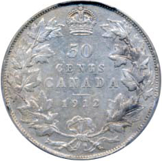 Canada 1912 50 Cents – George V Coin Reverse