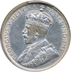 Canada 1934 50 Cents – George V Coin Obverse