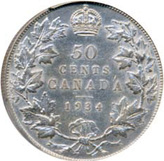 Canada 1934 50 Cents – George V Coin Reverse