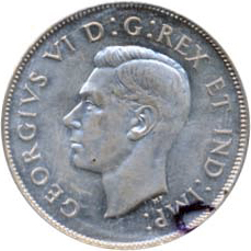 Canada 1945 50 Cents – George VI Coin Obverse