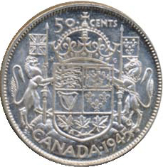 Canada 1945 50 Cents – George VI Coin Reverse