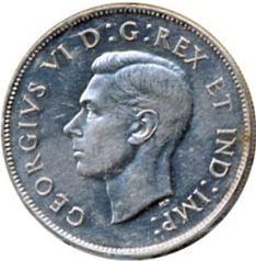 Canada 1946 50 Cents – George VI Coin Obverse