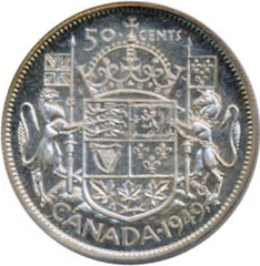 Canada 1949 50 Cents – George VI Coin Reverse