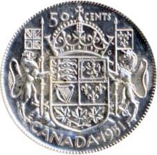 Canada 1951 50 Cents – George VI Coin Reverse