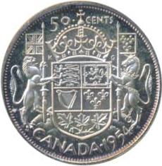 Canada 1954 50 Cents – Elizabeth II Coin Reverse