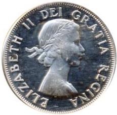 Canada 1959 50 Cents – Elizabeth II Coin Obverse