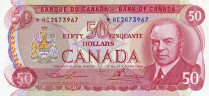 Canada 1975 50 Dollars –  Note  (Multicolour) Obverse