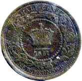 New Brunswick 1861 0.5 Cent – Victoria Coin Reverse