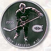 This souviner coin of Guy Lafleur was issued in 2005 as part of the Hockey Legends of the Montreal Canadiens series.