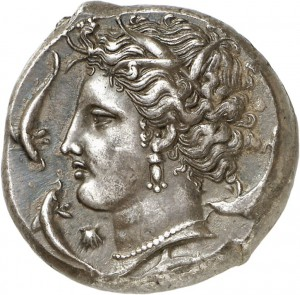 Lot 44, a tetradrachm of SICULO-PUNIANS (320-310), graded about Extremely Fine. Estimate: 12,000 euros. Hammer price: 24,000 euros.