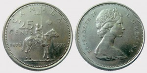 "The ""Large Bust"" 1973 25-cent piece (pictured above) was struck with the back die of the 1972 quarter, which featured a larger bust of Queen Elizabeth II and less than 100 beads."