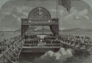 The Prince of Wales Laying the Last Stone of the Victoria Bridge Over the St. Lawrence by George Henry Andrews (1816-1898).