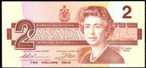"Now affectionately known as the ""toonie"", Canada's $2 circulation coin replaced its $2 banknote."