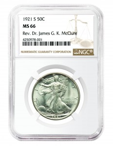 This 1921-S Walking Liberty Half Dollar in NGC MS-66—tied with one other for the finest example graded by NGC—sold for $188,000 USD ($242,600 Cdn.).