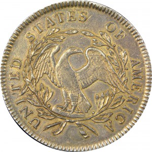 The first-known 1795 Flowing Hair silver dollar (reverse shown) with two inserted plugs. (Photo by Heritage Auctions)