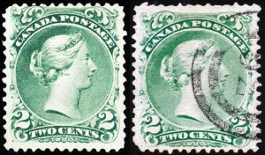 It pays to look closely at stamps. The example of the two-cent large queen shown at left is a normal example, while the stamp at right has an elusive stitch watermark, and is worth substantially more.