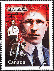 This stamp honouring Sir Frederick Banting was issued by Canada Post in 2000.