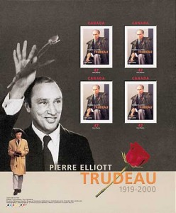 A souviner sheet of four stamps of Trudeau, released by Canada Post in 2000.