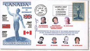 B.C. Philatelic Society member Derren Carman produced this commemorative show cover for VANPEX 2007, featuring Clarkson and other famous Asian-Canadians.