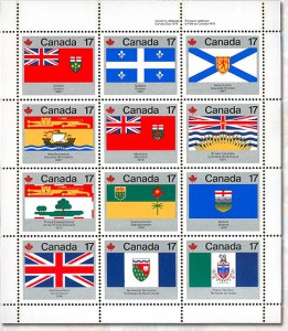 Canada Post featured the flags of the 12 provinces and territories making up Canada in 1979 for this stamp sheet.