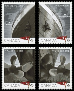 Canada Post also featured the Titanic on these four domestic-rate stamps (Scott 2531-2534).
