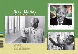 Canada Post also issued this souvenir sheet depicting Mandela.