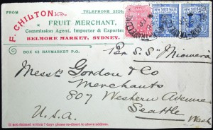 This cover was mailed aboard the Miowera in 1905.