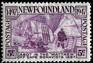 """In 1947, the Newfoundland Post Office featured """"Cabot on the Matthew"""" on a five-cent rose/violet stamp (CS # 270) as part of its Cabot issue."""