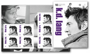 Canada Post also issued booklets of 10 stamps commemorating k.d. lang.