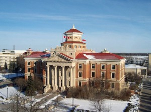 The university's administration building, pictured here in a photo from 2005, was featured on the Canada Post stamp issued in 2002.