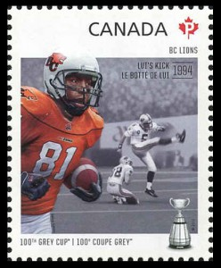 Later that year, Canada Post featured Lion's legend Geroy Simon alongside a photo of 'Lui's Kick' on this Permanent-rate stamp (SC #2569).