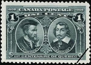 Cartier was also commemorated alongside Samuel de Champlain on this one-cent stamp (SC #97) as part of that same Tercentenary Series of 1908.